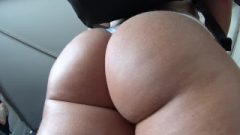 Girl With Great Butt In White Thong Teases Queue